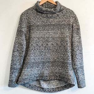 Columbia Fleece Lined Cowl Neck Sweater Gray White